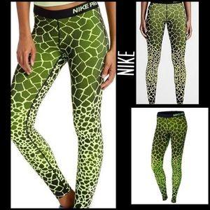 Nike Pro Neon Yellow/Black Giraffe Print Leggings